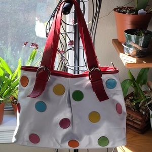 Vintage white leather purse/tote with polka dots